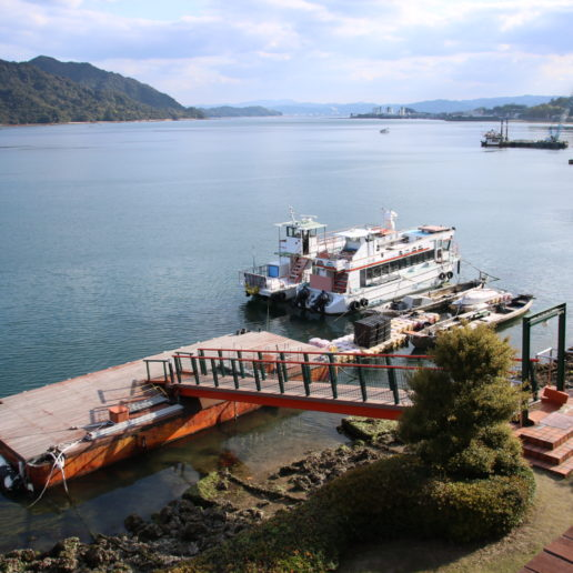 You can have a great view of Itsukushima Shrine, Miyajima island in Hiroshima, from the hotel deck.