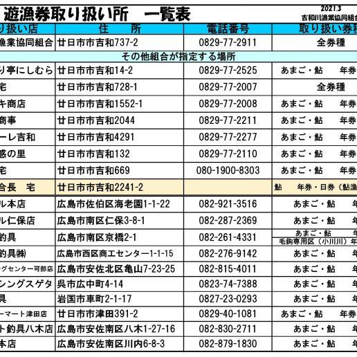 遊漁券販売所一覧(令和3年)